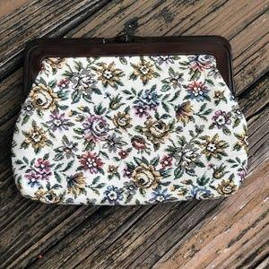 Vintage Cream Floral Tapestry Purse Bag Clutch